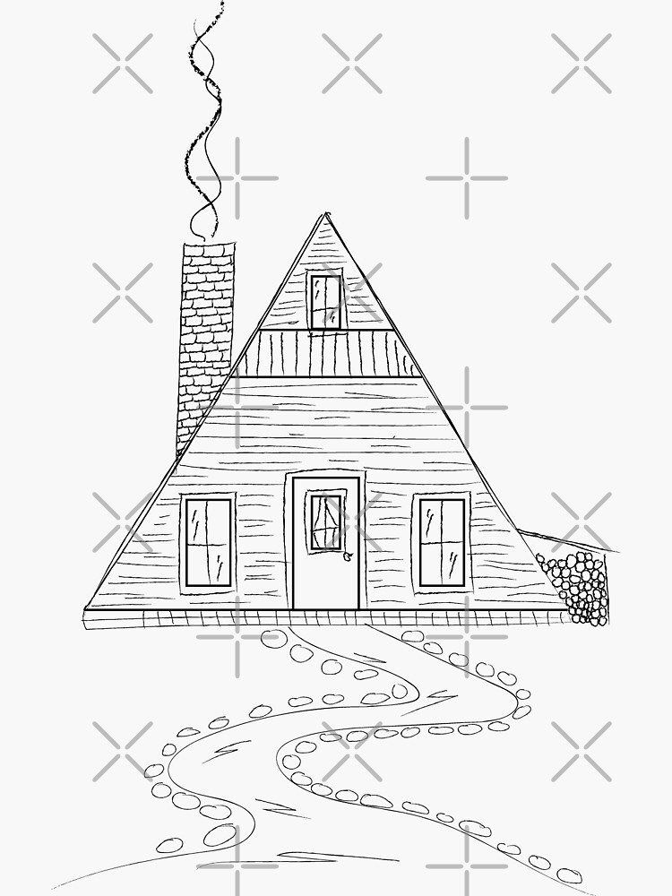 Aframe Cabin Sticker by goldnomad