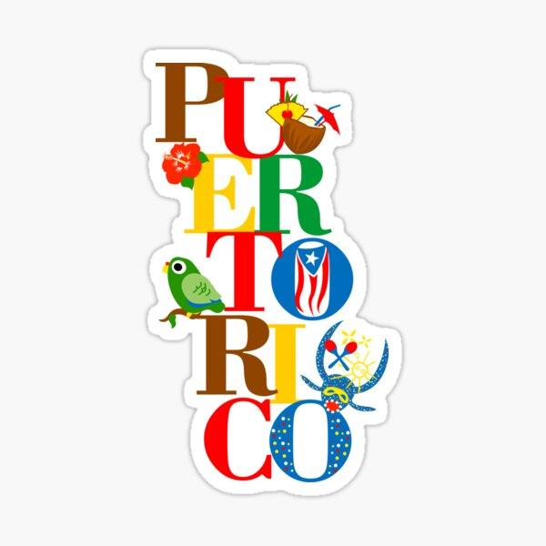 Puerto Rico Flag Parrot Vejigante Hibiscus Pina Colada Sticker