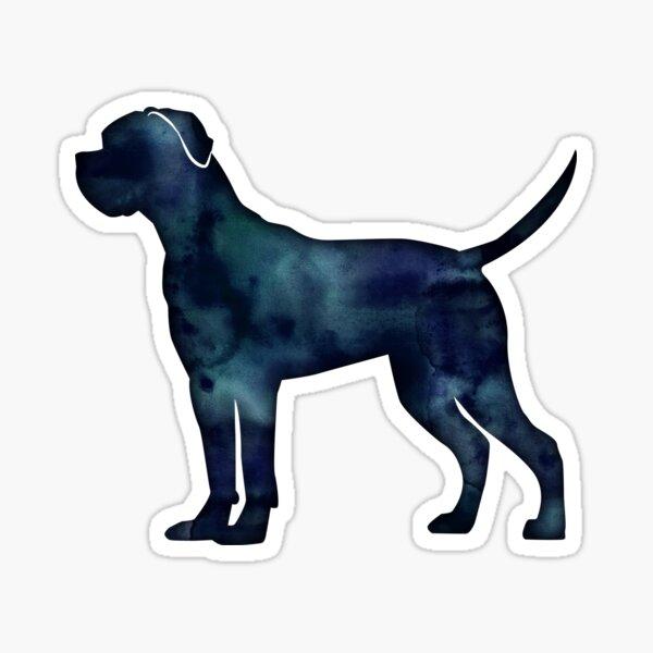 Cane Corso Dog Breed Silhouette Black Indigo Blue Watercolor Sticker