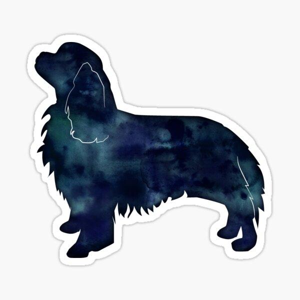 Cavalier King Charles Spaniel Dog Breed Silhouette Black Indigo Blue Watercolor Sticker
