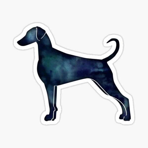 Doberman Pinscher Dog Breed Silhouette Black Indigo Blue Watercolor Sticker