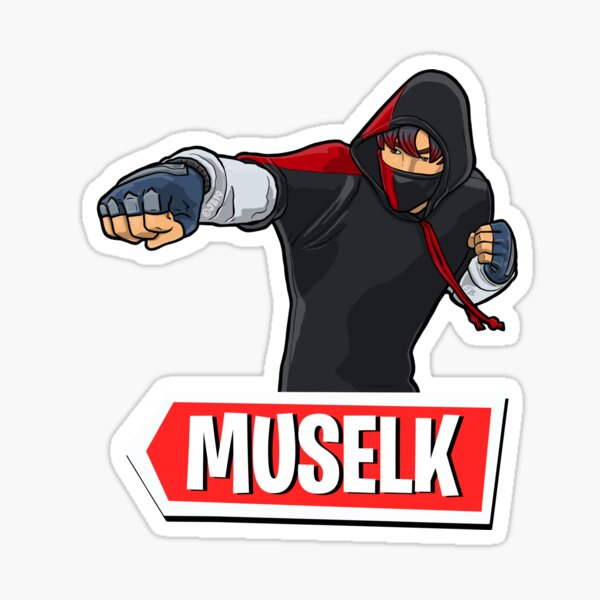 Muselk Punching Character with Red Logo Sticker