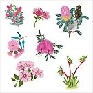 Australian Native Flowers and Birds Sticker Sheet - Aussie Stickers - Mini Floral Stickers by thatsgraphic