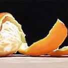Orange Spiral - peeled orange pastel painting by ria hills
