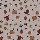 Fall Inktober Doodle Pattern by krisdrawsthings