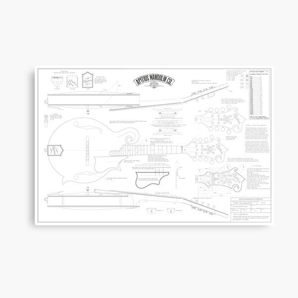 Apitius Mandolin Blueprint Poster Metal Print