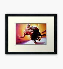 Moo!! Oils on Canvas Framed Print