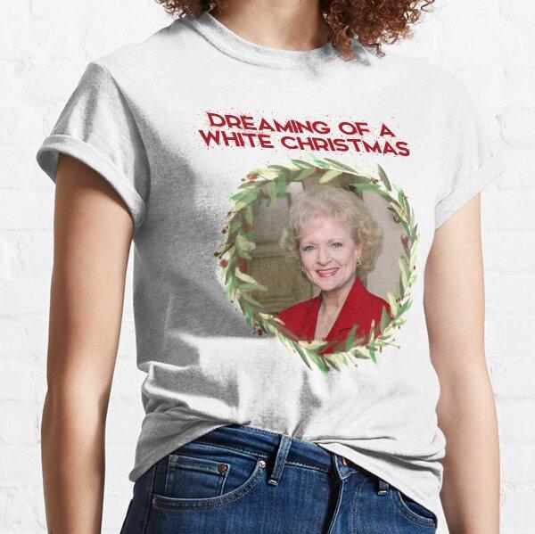 Soñando con una Navidad de Betty White - Rose Nylund de Golden Girls (texto en rojo) Camiseta clásica