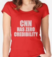 CNN HAS ZERO CREDIBILITY Fitted Scoop T-Shirt
