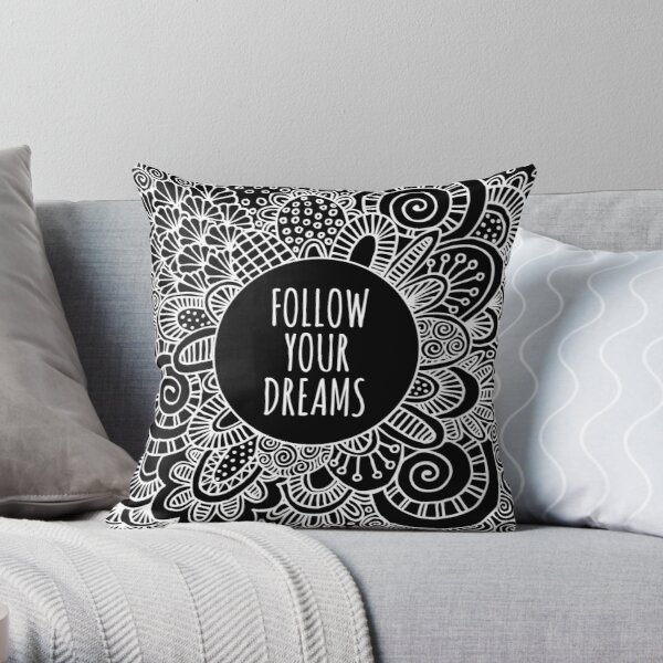 Follow Your Dreams White Doodle Art Throw Pillow