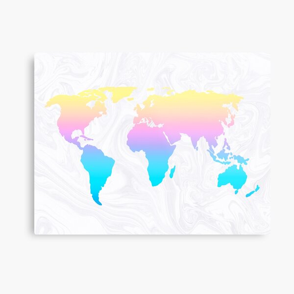 Pastel Rainbow Aesthetic World Map on White Marble Metal Print
