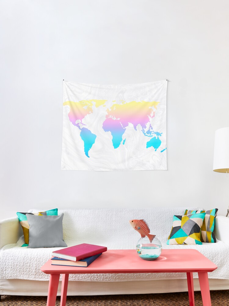 Pastel Rainbow Aesthetic World Map On White Marble Tapestry By