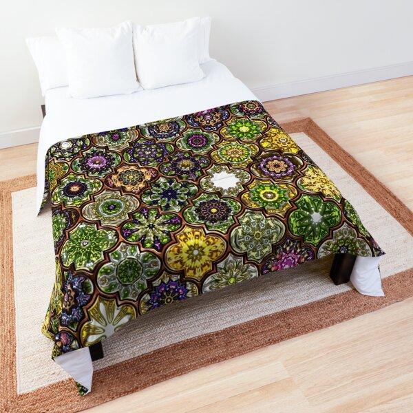 Moroccan Tile pattern, metallic green Comforter