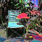 Spring Garden with chair  by Virginia McGowan