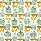 1950 Fabric Design - Tigers and Plants by ShaMiLaB