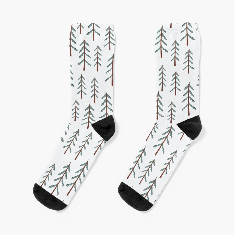 Fir tree doodle wood  Socks
