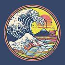 Great Retro Circle Wave Kanagawa by artlahdesigns