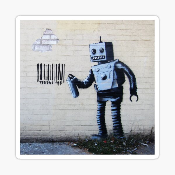 Banksy graffiti smiling Robot and barcodes Better Out Than In New York City residency on brick wall Sticker