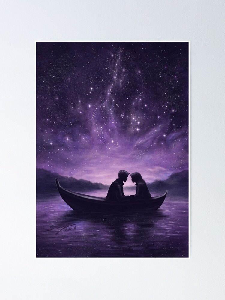 Alternate view of Lovers under a starlit sky Poster