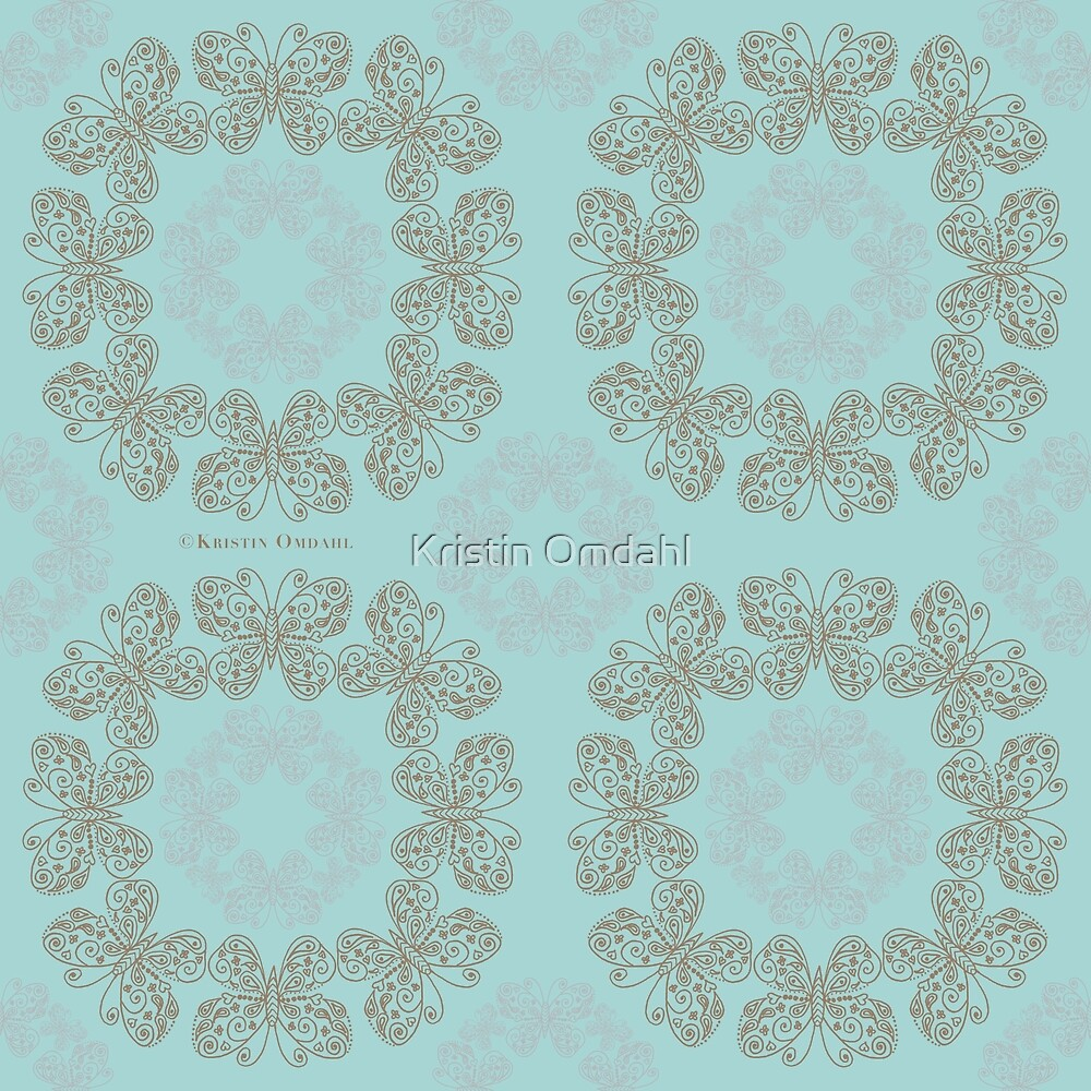 Gilded Rings of Butterflies Pale Cyan Green by Kristin Omdahl