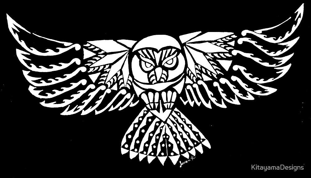 Owl Tribal Design - White  by KitayamaDesigns