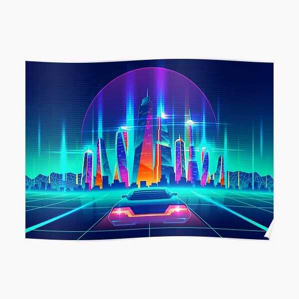 Synthwave Neon City Poster
