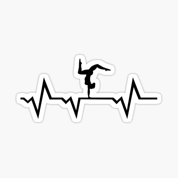 Gimnasia, Gimnasta EKG Heartbeat - Gimnasia femenina Pegatina