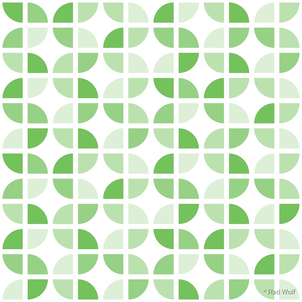 Geometric Pattern: Quarter Circle: Light/Green by * Red Wolf
