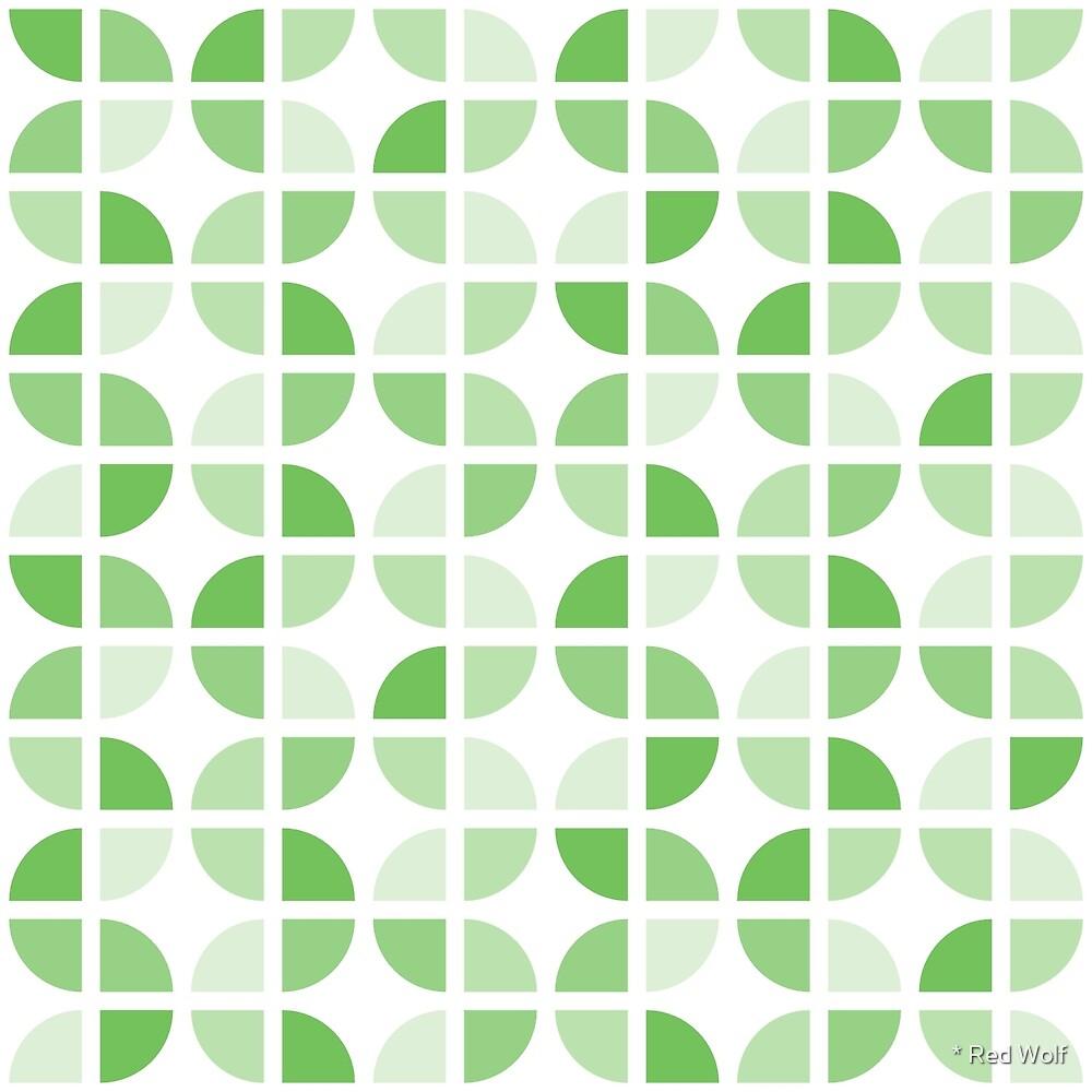 Geometric Pattern: Quarter Circle: Light/Green by * Red Wolf