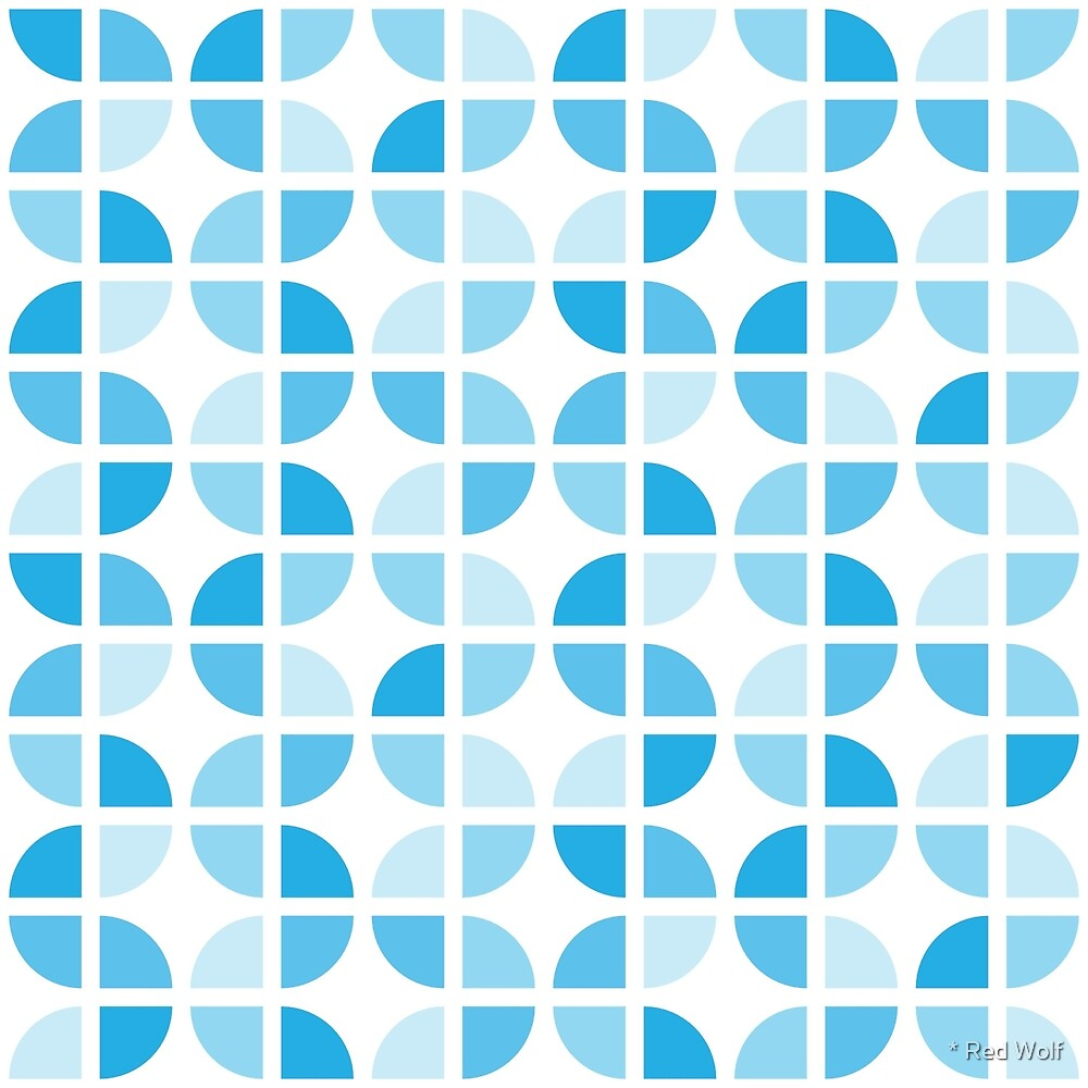 Geometric Pattern: Quarter Circle: Light/Blue by * Red Wolf