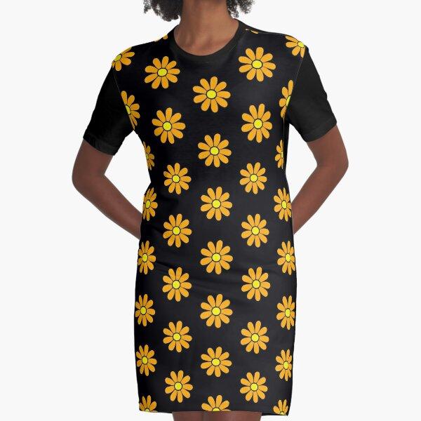 Happy Orange Daisy Flower Power 60's 70s Retro Vintage Hippie Gardening  Graphic T-Shirt Dress