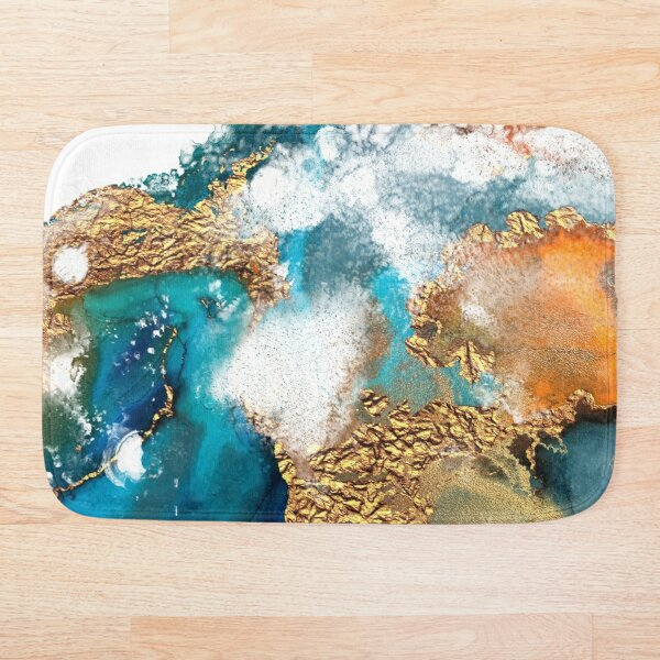 Glamorous gold and blue ink marble texture Bath Mat