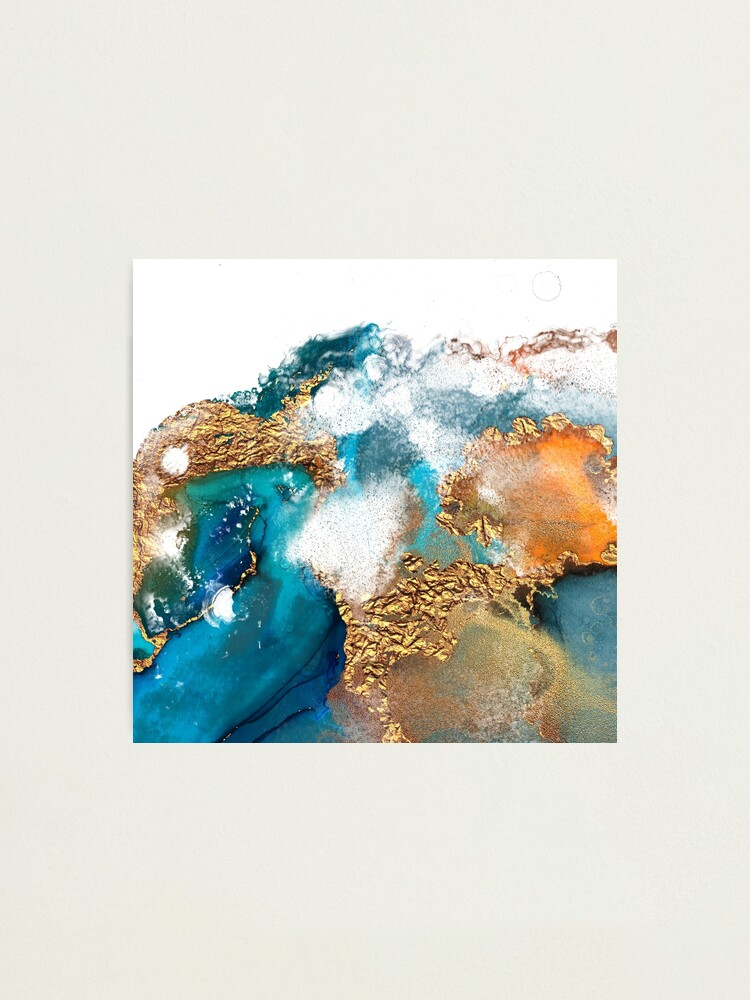 Alternate view of Glamorous gold and blue ink marble texture Photographic Print