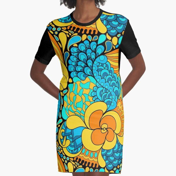 60s hippie psychedelic pattern Graphic T-Shirt Dress