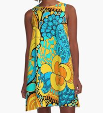 60s hippie psychedelic pattern A-Line Dress