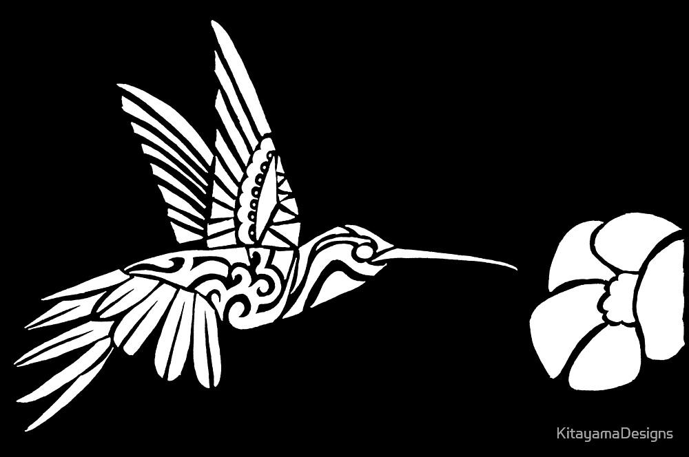 Hummingbird Tribal Design - White by KitayamaDesigns