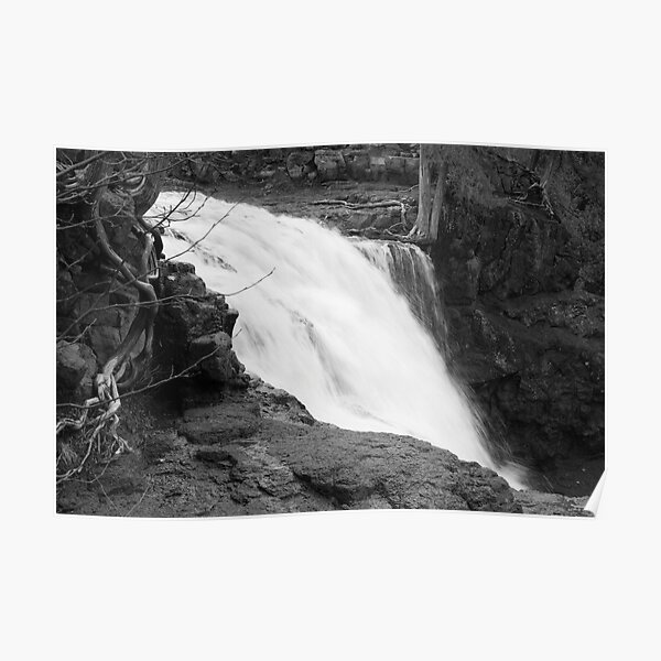 Minnesota Waterfall in Black and White Poster