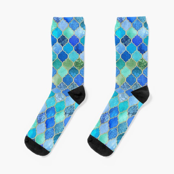 Cobalt Blue, Aqua & Gold Decorative Moroccan Tile Pattern Socks