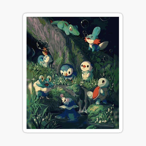 Water Starters Chilling In The Forest - Pocket Monsters Sticker