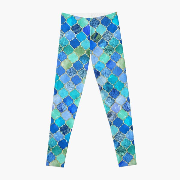 Cobalt Blue, Aqua & Gold Decorative Moroccan Tile Pattern Leggings