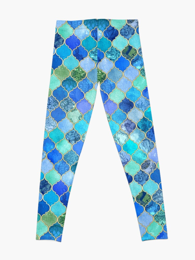 Alternate view of Cobalt Blue, Aqua & Gold Decorative Moroccan Tile Pattern Leggings