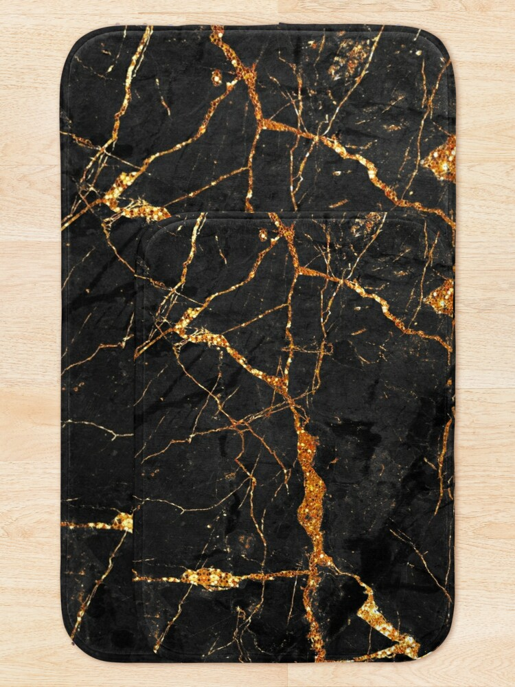 Alternate view of Black marble with gold glitter veins Bath Mat