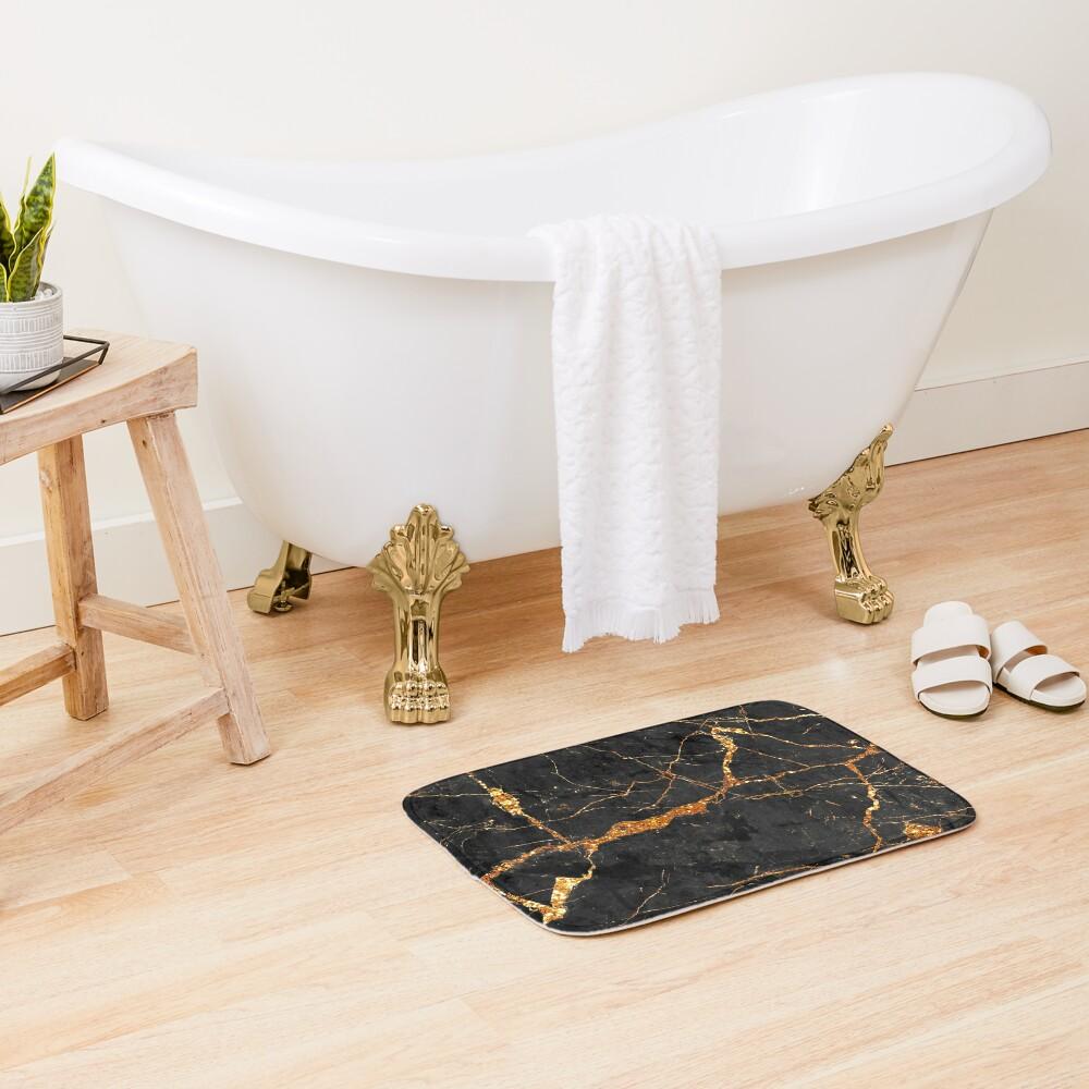 Black marble with gold glitter veins Bath Mat