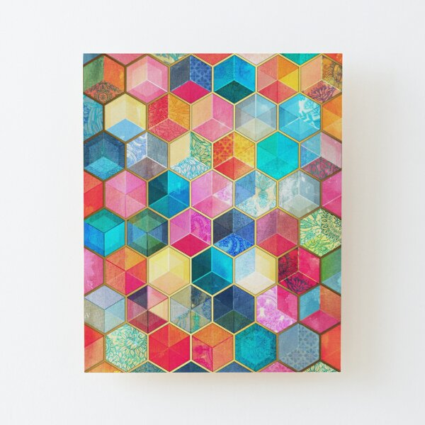 Crystal Bohemian Honeycomb Cubes - colorful hexagon pattern Wood Mounted Print