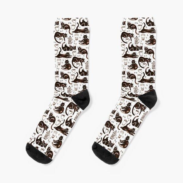 Gouache Black Cats & Coffee Socken