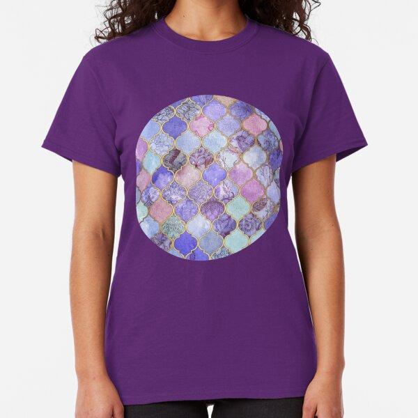 Royal Purple, Mauve & Indigo Decorative Moroccan Tile Pattern Classic T-Shirt
