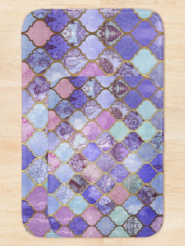 Alternate view of Royal Purple, Mauve & Indigo Decorative Moroccan Tile Pattern Bath Mat