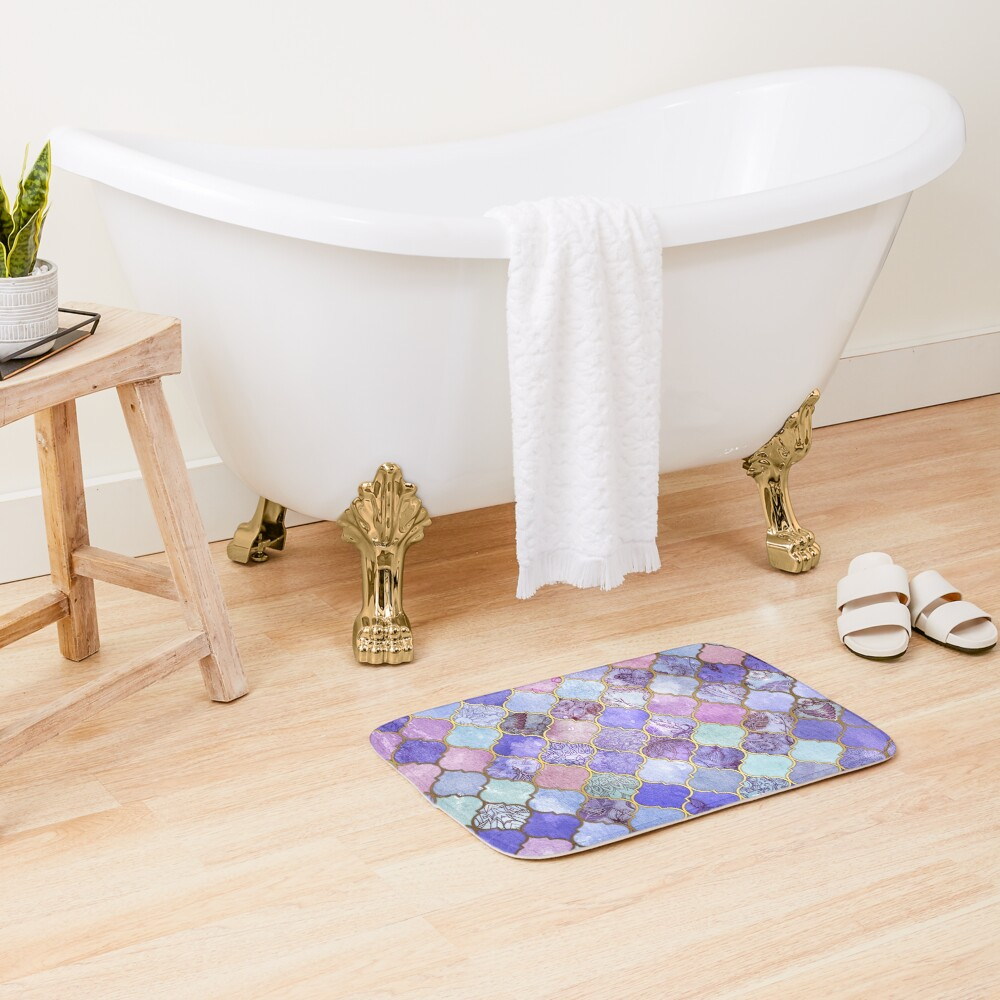 Royal Purple, Mauve & Indigo Decorative Moroccan Tile Pattern Bath Mat