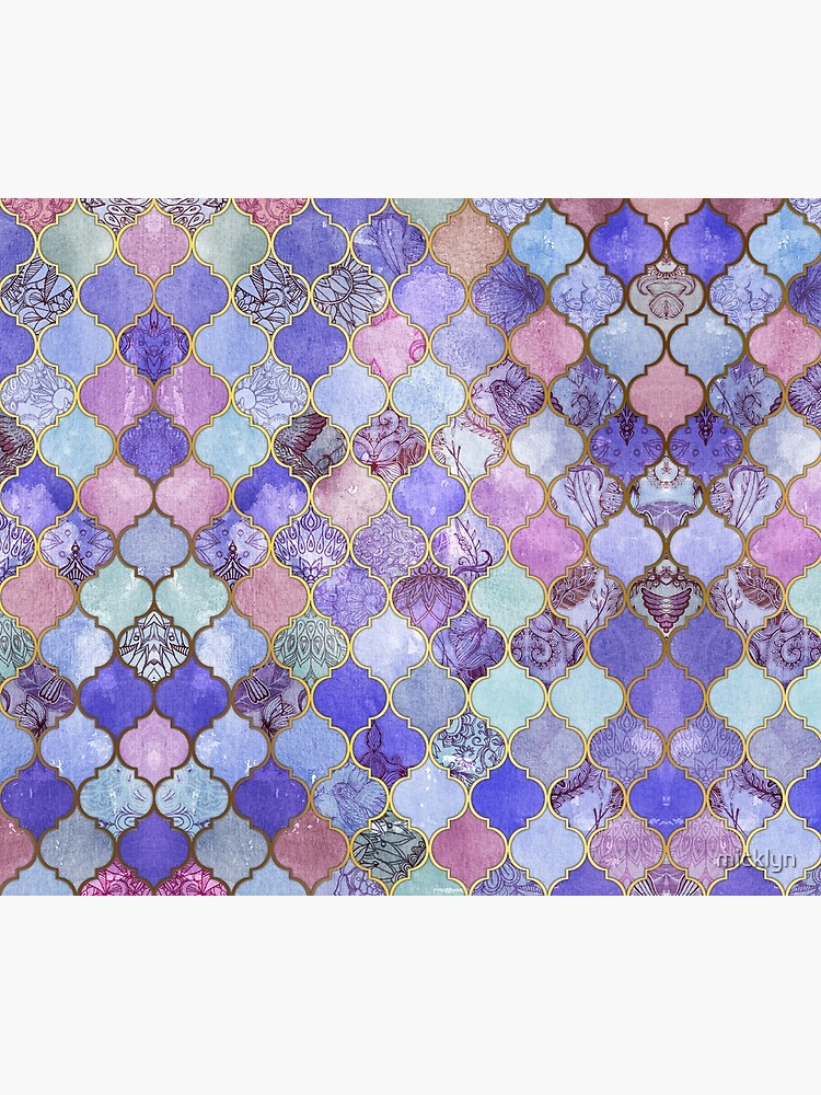 Royal Purple, Mauve & Indigo Decorative Moroccan Tile Pattern by micklyn