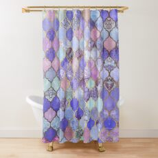Royal Purple, Mauve & Indigo Decorative Moroccan Tile Pattern Shower Curtain